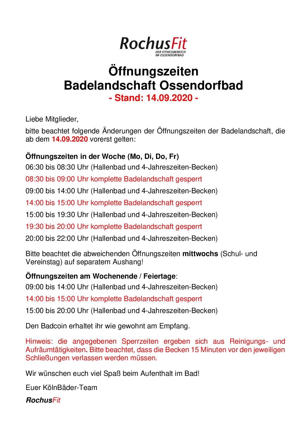 öffnungszeiten Kölnbäder